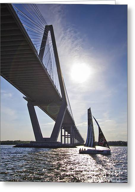 Opened Greeting Cards - Atlantic Cup Open 40 Alize III Racing Yact Under the Arthur Ravenel Jr Bridge Charleston SC Greeting Card by Dustin K Ryan