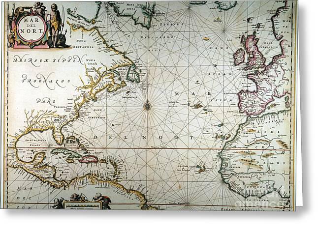 Jansson Greeting Cards - Atlantic Ocean Map, 1650 Greeting Card by Granger