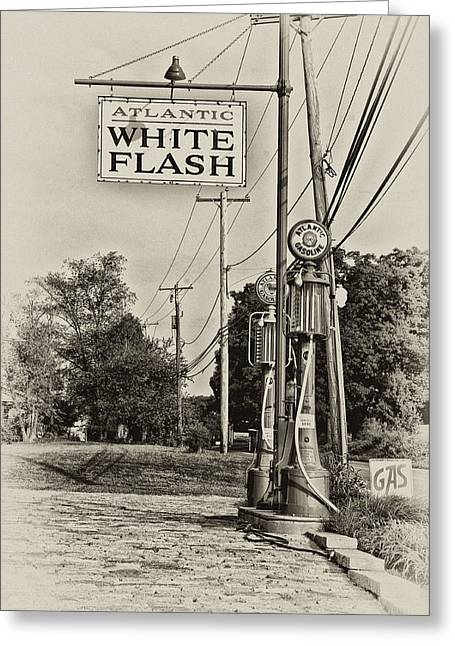 Petrol Station Greeting Cards - Atlantic White Flash Greeting Card by Bill Cannon