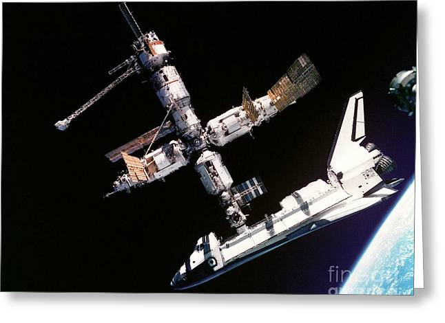 Cooperation Greeting Cards - Atlantis Meets Mir Greeting Card by NASA / European Space Agency