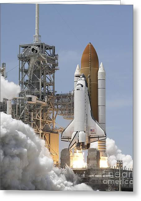 Atlantis Greeting Cards - Atlantis Twin Solid Rocket Boosters Greeting Card by Stocktrek Images