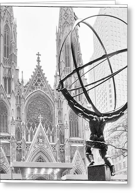 Snow New York City Greeting Cards - Atlas and the Cathedral Greeting Card by Vicki Jauron
