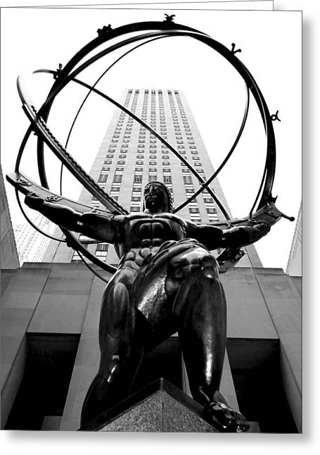 Rockefeller Center Greeting Cards - Atlas Greeting Card by Mitch Cat