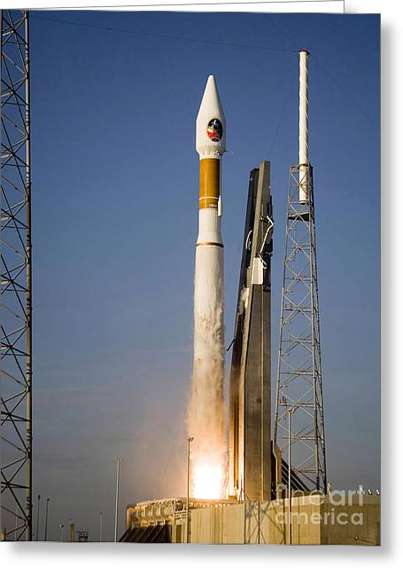 Blastoff Greeting Cards - Atlas V Launch Vehicle, With The Mars Greeting Card by Stocktrek Images