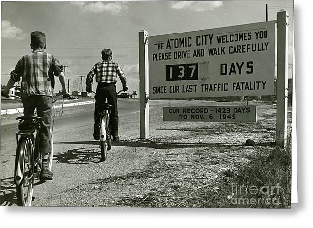 Tennessee Historic Site Greeting Cards - Atomic City Tennessee in the Fifties Greeting Card by Tom Hollyman and Photo Researchers