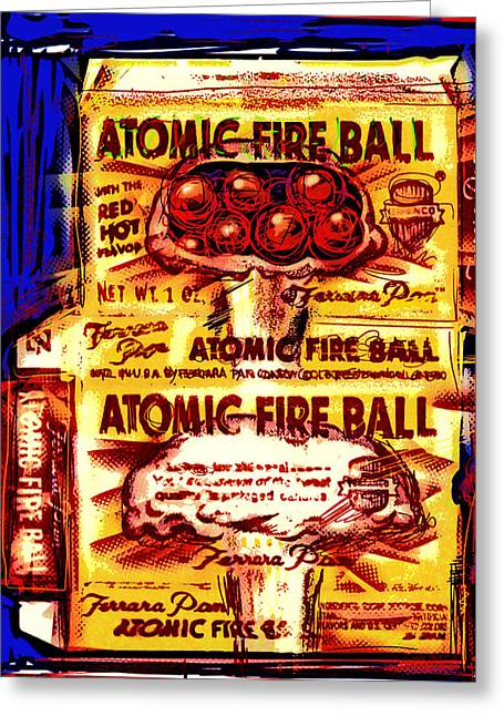Cardboard Greeting Cards - Atomic Fire Ball Greeting Card by Russell Pierce