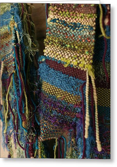 Weave Tapestries - Textiles Greeting Cards - Atomic Forest - Fiber Art Woven Greeting Card by Karen Rester
