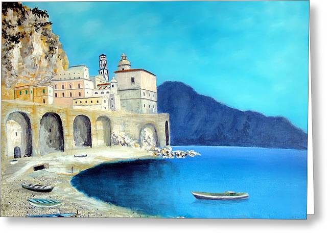 Portofino Italy Art Greeting Cards - Atrani Italy Greeting Card by Larry Cirigliano