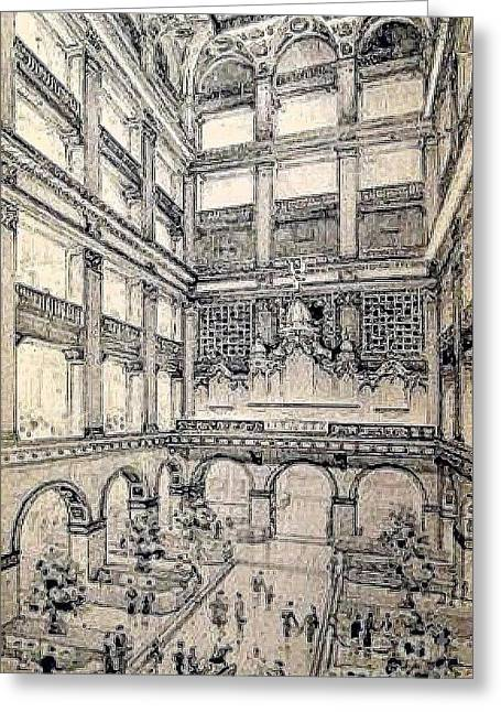 Atrium Paintings Greeting Cards - Atrium In John Wanamakers Store In Philadelphia Pa In 1909 Greeting Card by Dwight Goss