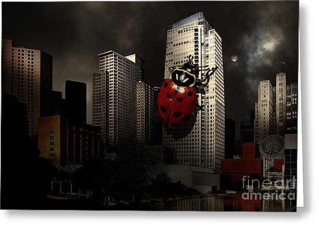 Mario Botta Botta Greeting Cards - Attack of The Giant Killer Ladybug of San Francisco . 7D4262 Greeting Card by Wingsdomain Art and Photography