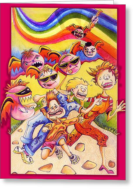 Storybook Drawings Greeting Cards - Attack of the Pink Monsters Greeting Card by Debbie McIntyre