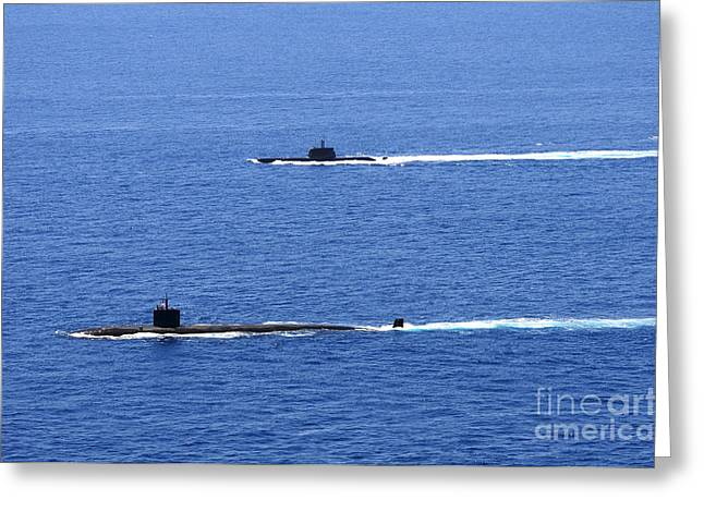 Emergence Greeting Cards - Attack Submarine Uss Alexandria Greeting Card by Stocktrek Images