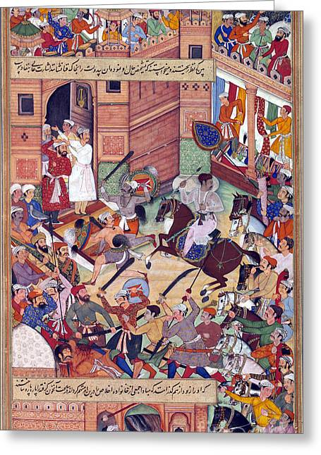 Third Army Greeting Cards - Attempt On The Life Of Akbar The Great Greeting Card by Photo Researchers