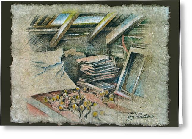 Attic in Muros 1982 Greeting Card by Glenn Bautista