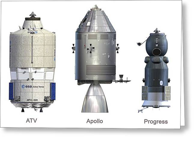 Automated Transfer Vehicles Greeting Cards - Atv, Apollo And Progress Modules Greeting Card by David Ducros