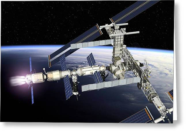 Automated Transfer Vehicles Greeting Cards - Atv Boosting The Iss, Artwork Greeting Card by David Ducros