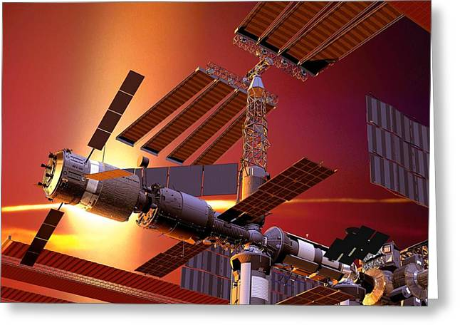 Automated Transfer Vehicles Greeting Cards - Atv Docked To The Iss, Artwork Greeting Card by David Ducros