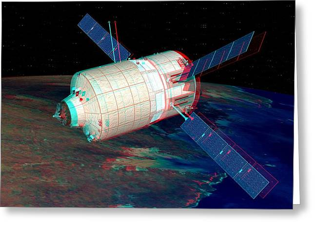 Automated Transfer Vehicles Greeting Cards - Atv In Orbit, Stereo Image Greeting Card by David Ducros