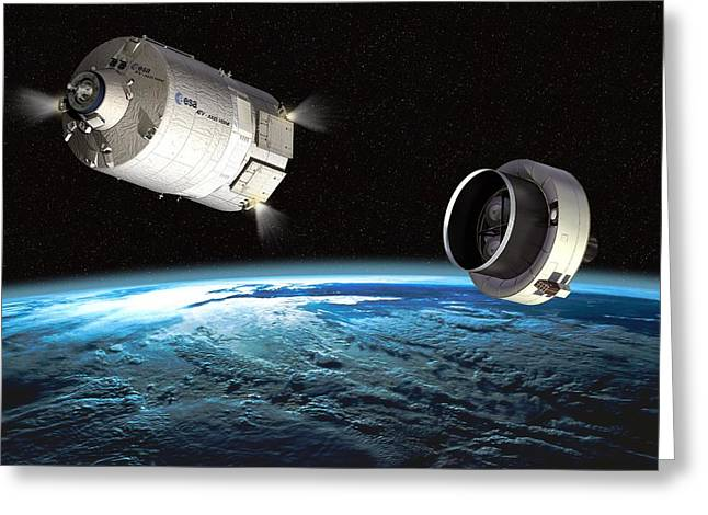Automated Transfer Vehicles Greeting Cards - Atv Orbital Separation, Artwork Greeting Card by David Ducros