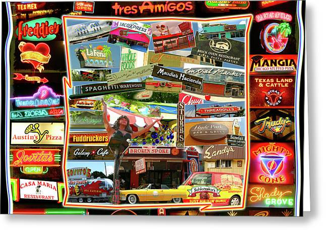 ATX Restaraunt Montage Greeting Card by Andrew Nourse