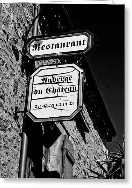 Menu Greeting Cards - Auberge de Chateau  Greeting Card by Nomad Art And  Design