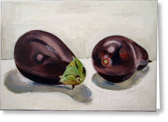 Beverage Greeting Cards - Aubergines Greeting Card by Sarah Lynch
