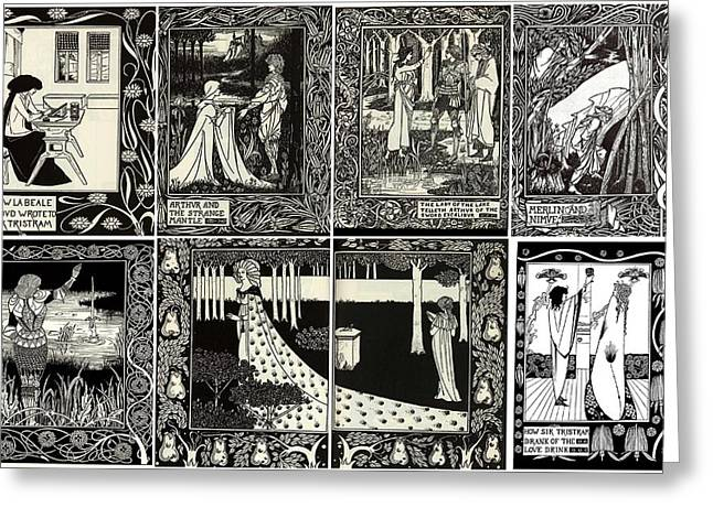 Victorian Aesthetic Greeting Cards - Aubrey Beardsley Collage One Greeting Card by Don Struke