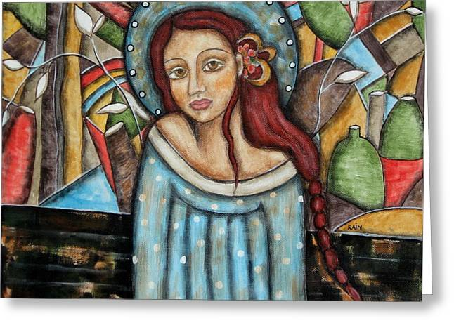 Religious Art Paintings Greeting Cards - Aubrey Greeting Card by Rain Ririn