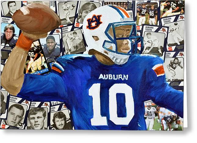 Sec Greeting Cards - Auburn Tigers Quarterback #10 Greeting Card by Michael Lee