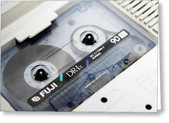 Audio Cassette Tape Greeting Card by Johnny Greig