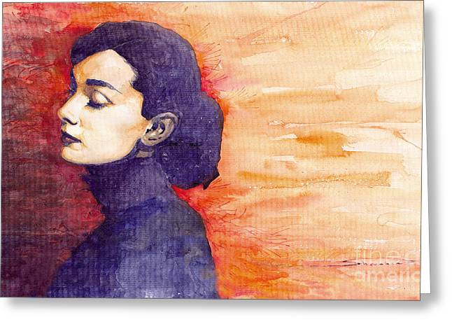 Celebrities Greeting Cards - Audrey Hepburn 1 Greeting Card by Yuriy  Shevchuk