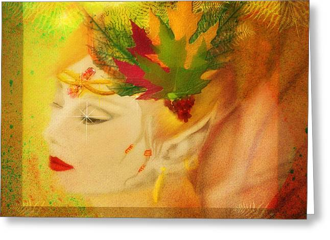 Rosy Hall Greeting Cards - Audrey Hepburn Autumn Fae Greeting Card by Rosy Hall
