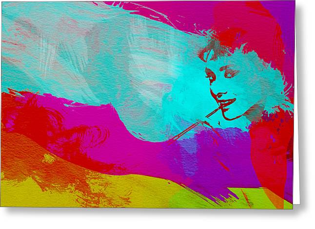 British Crime Greeting Cards - Audrey Hepburn Greeting Card by Naxart Studio