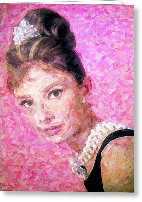 Classic Hollywood Mixed Media Greeting Cards - Audrey Greeting Card by Jeff Adkins