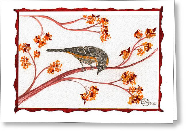 Lady Tapestries - Textiles Greeting Cards - Audubon Warbler Greeting Card by Alexandra  Sanders