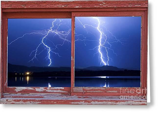 August 5th Lightning Storm Red Picture Window Frame Photo Art Greeting Card by James BO  Insogna