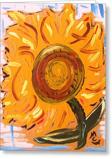 Cardboard Drawings Greeting Cards - August 7 Late Day Sunflower Greeting Card by Mary Carol Williams