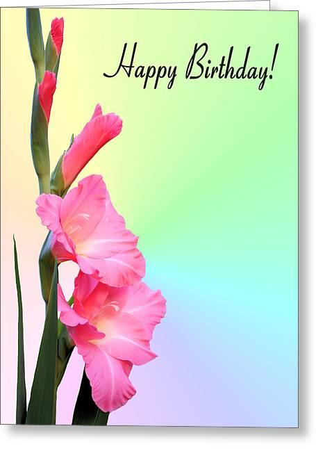 Gladiolas Greeting Cards - August Birthday Greeting Card by Kristin Elmquist