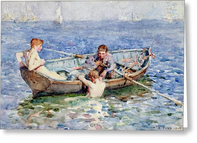 Docked Sailboats Greeting Cards - August Blue Greeting Card by Henry Scott Tuke
