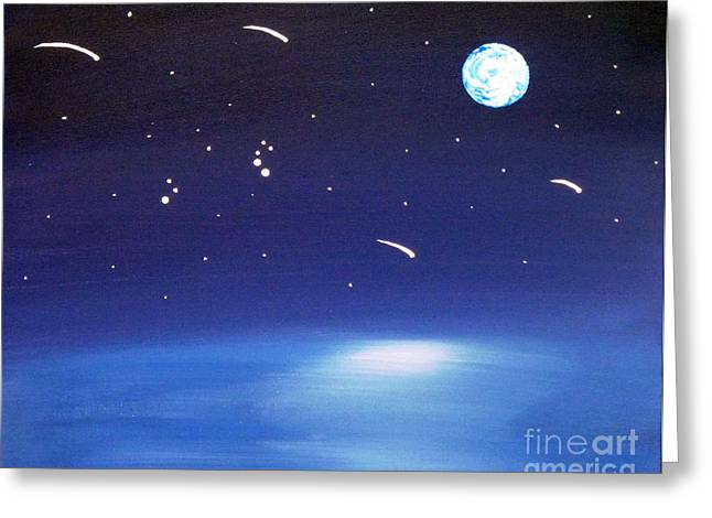 Perseid Paintings Greeting Cards - August Celestial Trinity Greeting Card by Alys Caviness-Gober