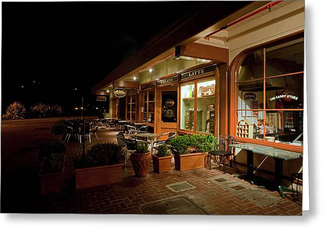 Tiburon Greeting Cards - August Nights Caffe Greeting Card by Richard Leon