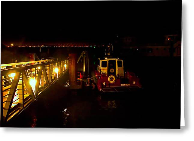 Tiburon Greeting Cards - August Nights Ferry Dock Greeting Card by Richard Leon