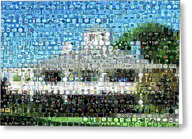 Linked Mixed Media Greeting Cards - Augusta National Clubhouse Mosaic Greeting Card by Paul Van Scott