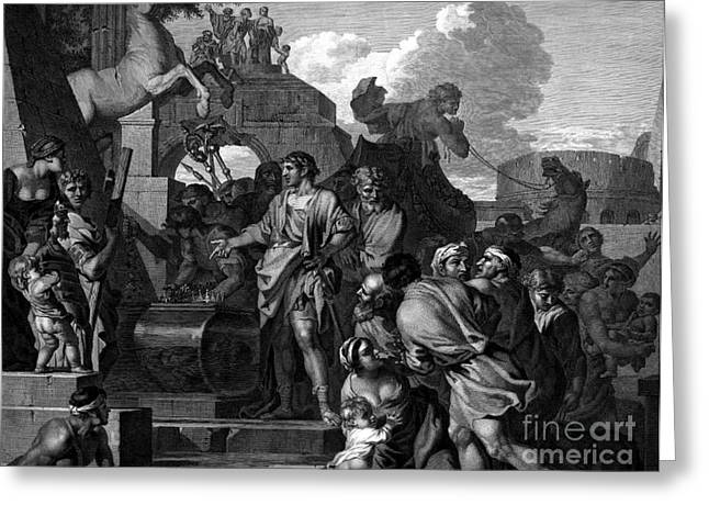Roman Citizen Greeting Cards - Augustus Before The Tomb Of Alexander Greeting Card by Photo Researchers