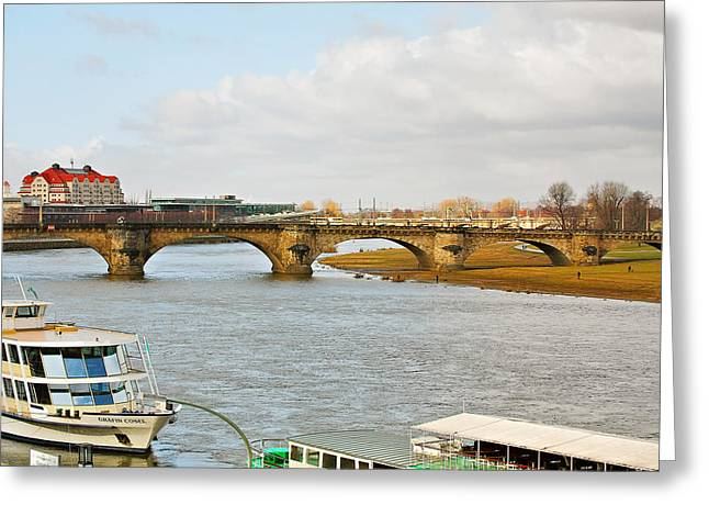River Boat Greeting Cards - Augustus Bridge Dresden Germany Greeting Card by Christine Till