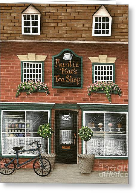 Catherine Holman Greeting Cards - Auntie Maes Tea Shop Greeting Card by Catherine Holman