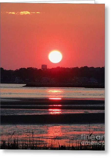 Reflections Of Sun In Water Greeting Cards - Aura of a sunset Greeting Card by Meandering Photography