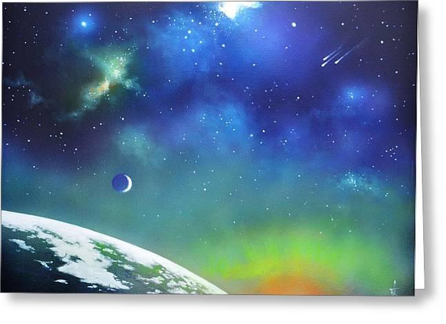 Glow Murals Greeting Cards - Auroa Borealis from space Greeting Card by Thomas Kolendra