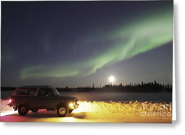 Walsh Lake Greeting Cards - Aurora And Old Truck, Walsh Lake Greeting Card by Yuichi Takasaka