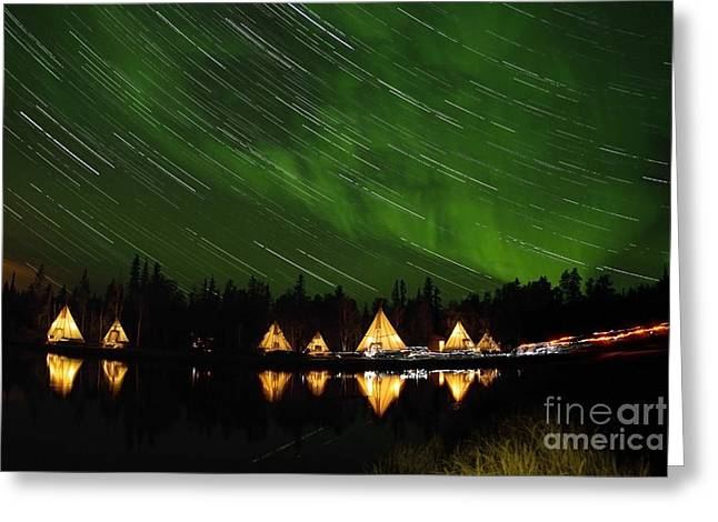 Northern Polar Lights Greeting Cards - Aurora And Star Trails Greeting Card by Yuichi Takasaka